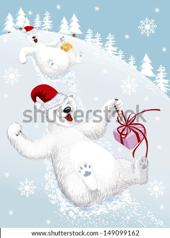 Two funny polar bears sliding down from a snowy hill - stock vector
