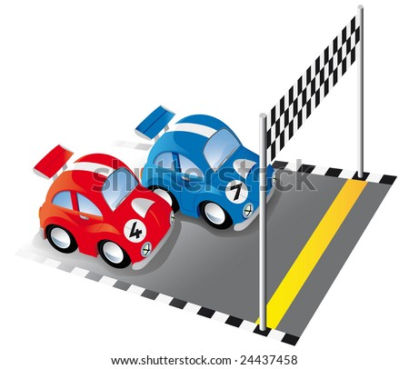 Two funny race cars on race track with finish line and checkered flag - stock vector