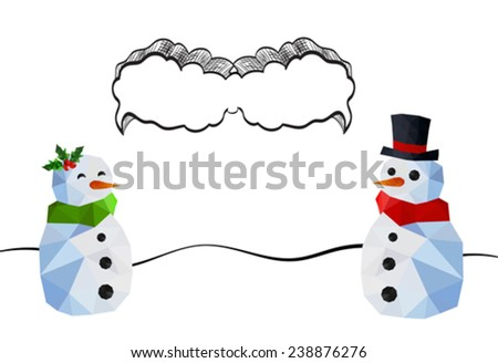 Two funny snowman with doodle speech bubble - stock vector