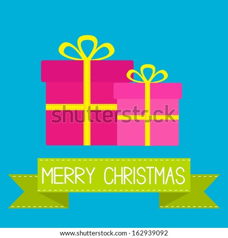 Two gift boxes with ribbons and bows. Merry Christmas card. Vector illustration. - stock vector