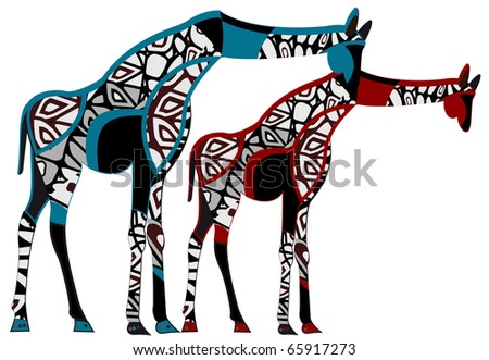 two giraffes in vintage style are the symbol of love and romance - stock vector