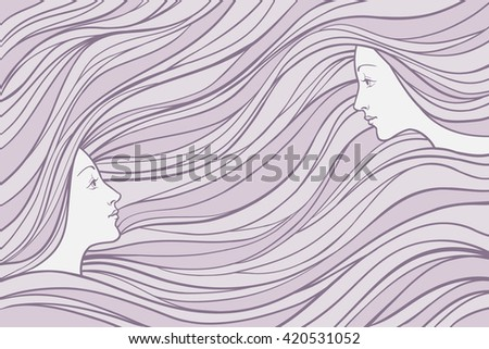 Two girl's profile on wavy hair background, vector linen illustration for banner, card, cover. - stock vector