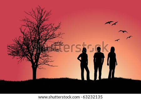 two girls and man standing on hill near bare tree, pink background - stock vector