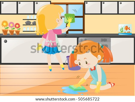 Two Girls Cleaning Kitchen And Floor Illustration