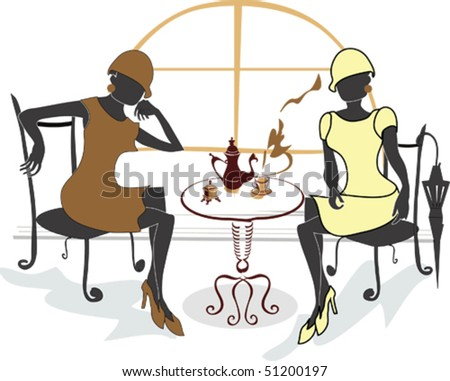 Two girls drinking coffee in the cafe - stock vector