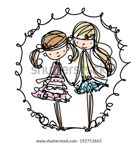 two girls fashion show cartoon look vector file set sister vector illustration