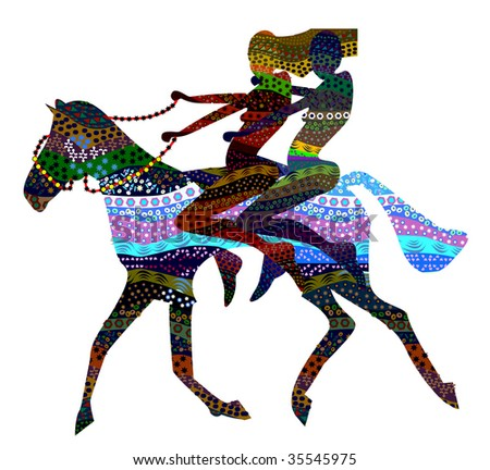 two girls go back to the wild horses in ethnic style - stock vector