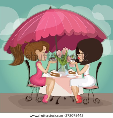 Two girls in cafe drinking coffee in cafe