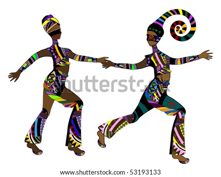 two girls in ethnic style in a hurry about their business - stock vector