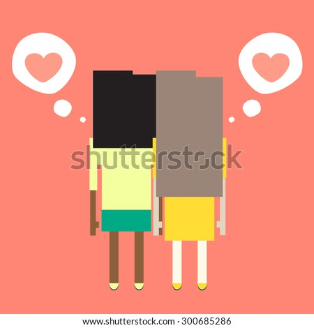 Two girls in love hold hands - stock vector