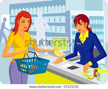 Two girls in shop - stock vector