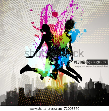 Two girls jumping over city. - stock vector