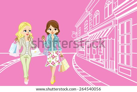 Two girls Shopping in the small town - stock vector
