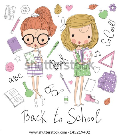 Two girls with books - stock vector