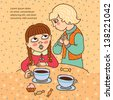 Two girls with tea or coffee. Talk. Friends. Cartoons character. Doodle. Frame for text. - stock