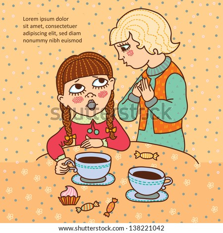 Two girls with tea or coffee. Talk. Friends. Cartoons character. Doodle. Frame for text. - stock vector