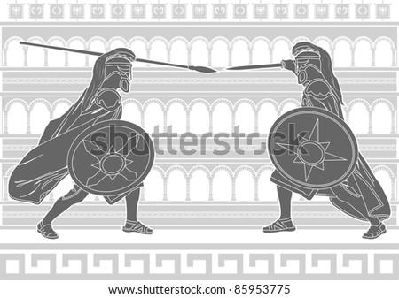 two gladiators. stencil. vector illustration - stock vector