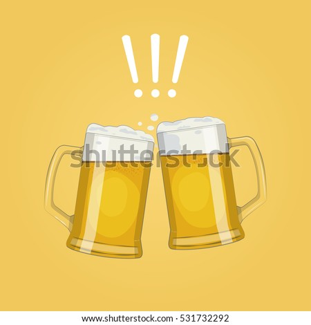 two glass beer mugs vector - Glass Beer Mugs