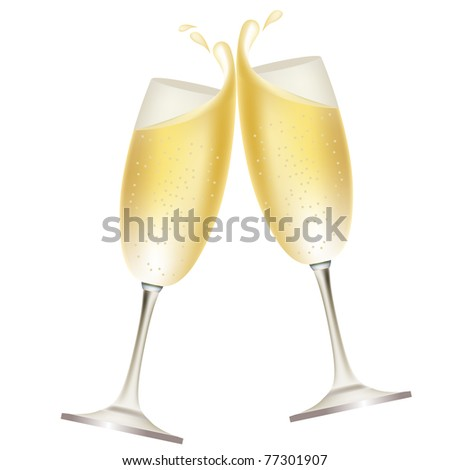 Two glasses full of champagne isolated on white - stock vector
