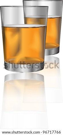 Two glasses of alcohol drink with reflection for different uses - stock vector