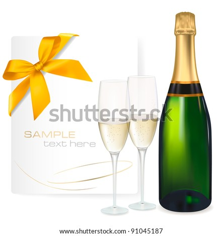 Two glasses of champagne and bottle. Vector illustration - stock vector