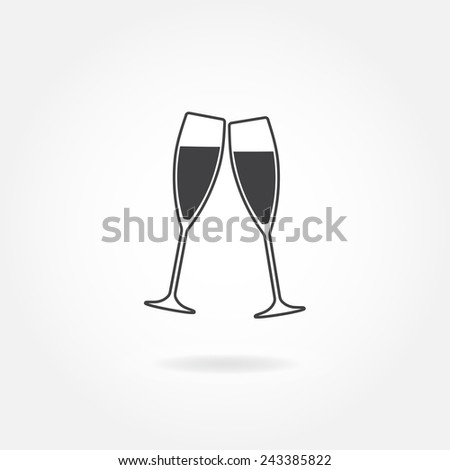 Two glasses of champagne or wine. Cheers icon or sign. Vector illustration. - stock vector