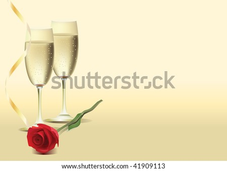 Two glasses of wine and rose - stock vector