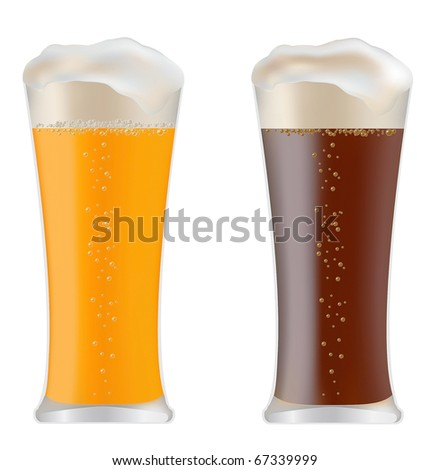 two glasses with dark and light beer vector