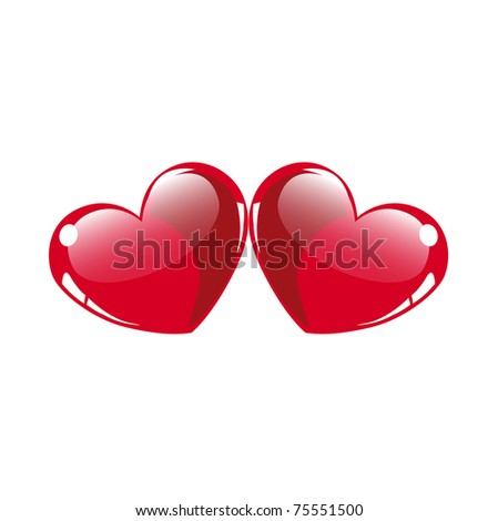Two glossy hearts vector on white - stock vector