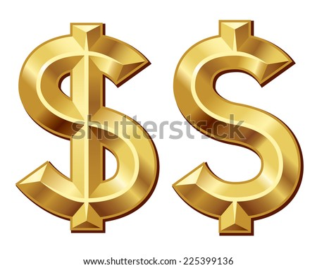 Two gold dollar signs. Eps8. CMYK. Organized by layers. Global colors. Gradients used. - stock vector