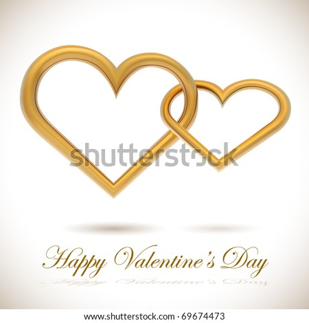 Two golden hearts linked together realistic vector illustration. Valentine's Day card. - stock vector