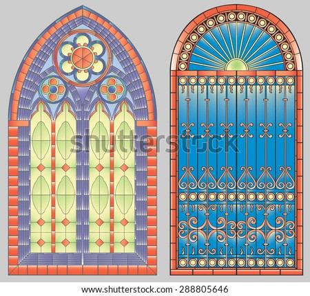 Two gothic stainless glass windows