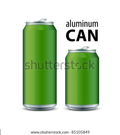 Two Green Aluminum Can - stock vector
