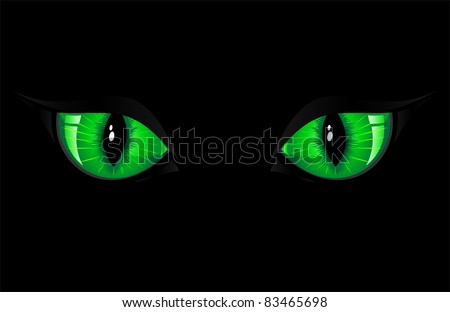 Two green cat eyes on black background, illustration - stock vector