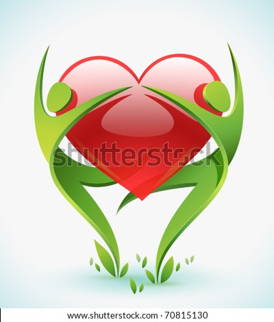 Two green figures dance as they embrace a red heart. - stock vector