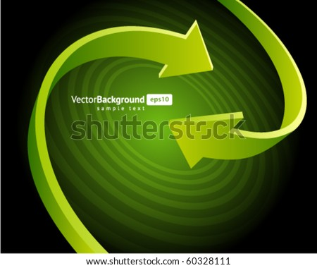 Two green graph arrows swirl vector background - stock vector