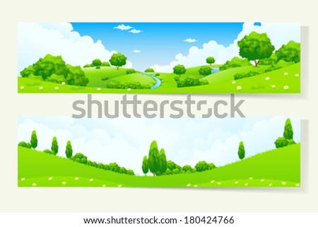Two Green Horizontal Banners with Nature Landscape - stock vector