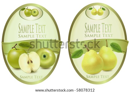 Two green labels with different sorts of fruit. Vector. - stock vector