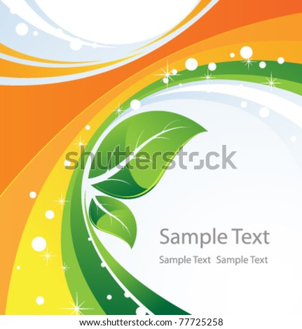 Two green leaves on an abstract background. Conceptual background. - stock vector