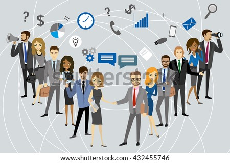 Two group of a professional business team standing, vector illustration