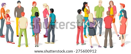 Two groups of people meeting. Reunion. - stock vector