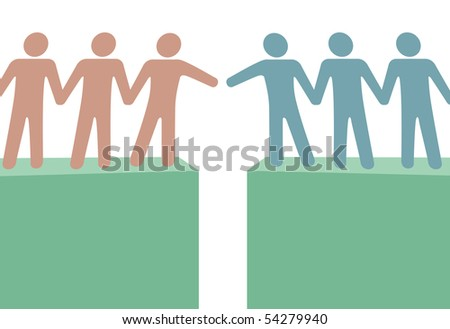 Two groups of people reach out to join in a connection and help. - stock vector