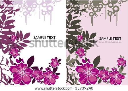 two grunge backgrounds with flowers - stock vector