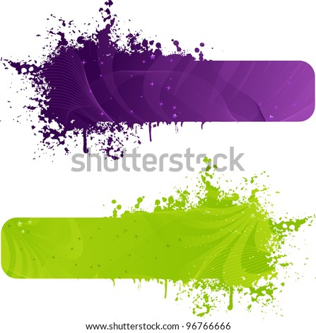 Two grunge banner in purple and green colors with wave design and stars - stock vector