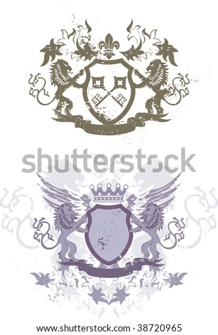 Two grunge heraldic shields with lions and fleur-de-lis