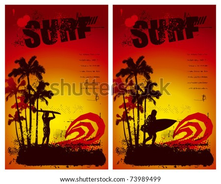two grunge surf poster with sunset and surfer - stock vector
