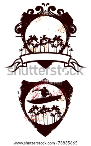 two grunge surf shield - stock vector