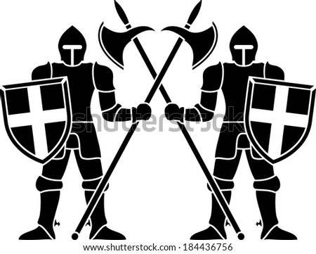 two guardians. stencil. vector variant - stock vector