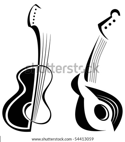 Two guitars - stylized black & white vector image of string musical instruments. - stock vector