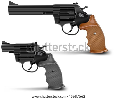 Two guns isolated on white background, vector illustration - stock vector